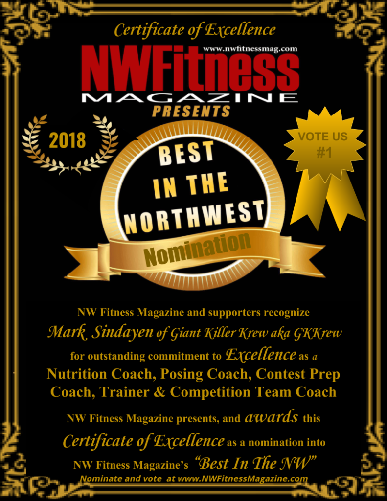 NW Fitness Magazine's Best in the NW – Mark Sindayen of Giant Killer Krew aka GKKrew – Nutrition Coach, Posing Coach, Contest Prep Coach, Trainer & Competition Team Coach