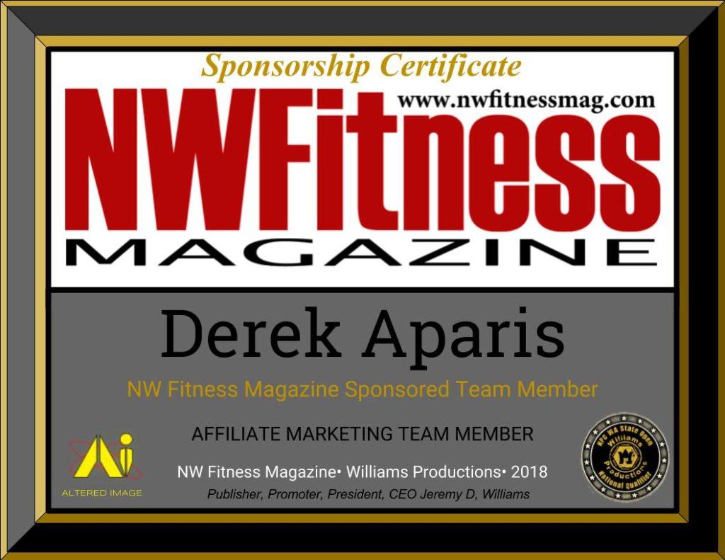 NW Fitness Magazine Sponsorship Certificat - Derek Aparis